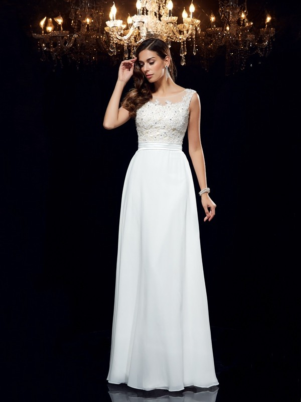 A-Line/Princess Scoop Sleeveless Chiffon Floor-Length Prom Dress with Applique