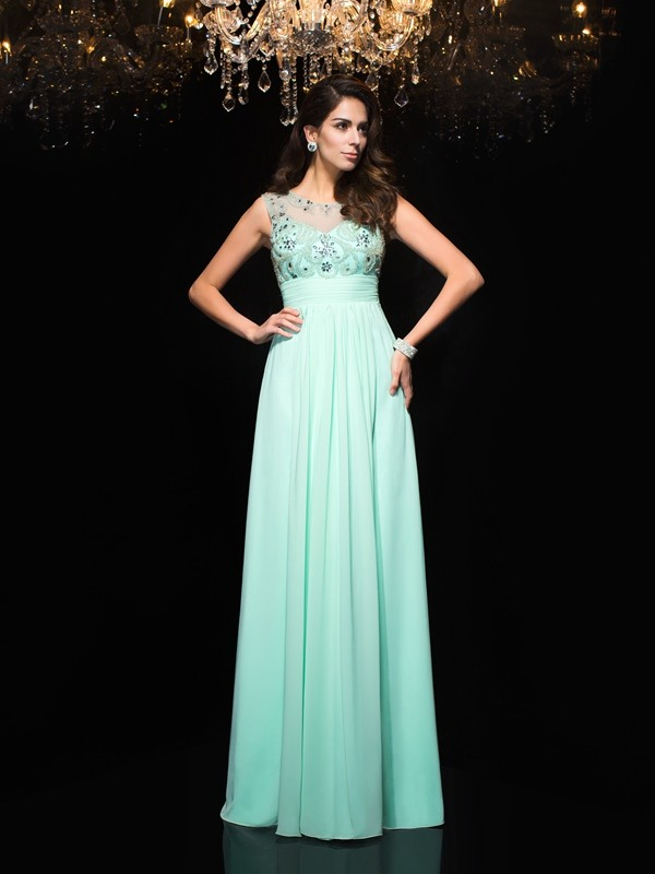 A-Line/Princess Sheer Neck Sleeveless Chiffon Floor-Length Prom Dress with Beading