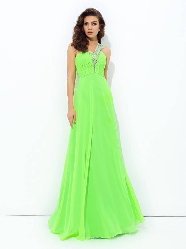 A-Line/Princess One-Shoulder Floor-Length Chiffon Prom Dress with Rhinestone