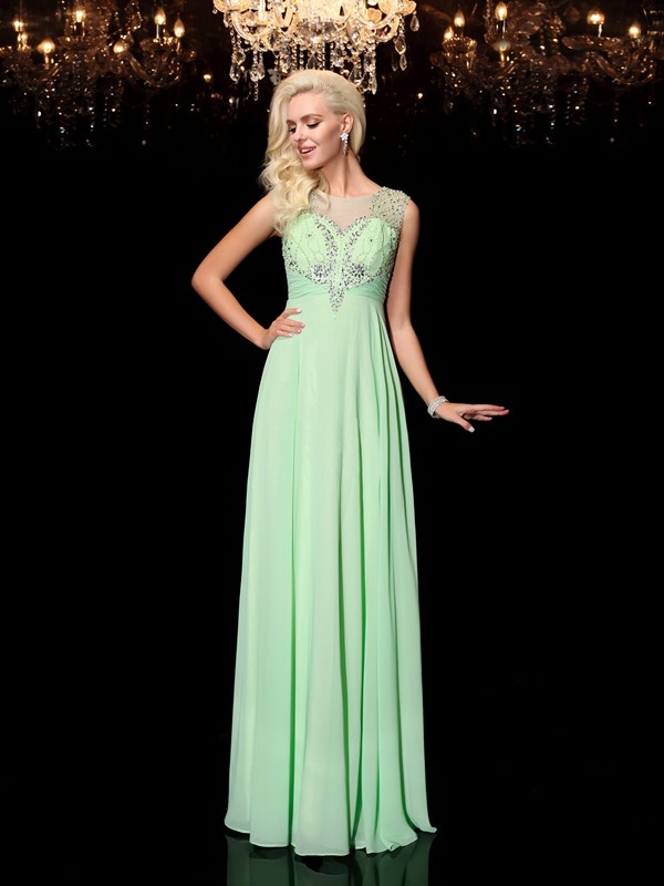 A-line/Princess Sleeveless Floor-Length Scoop Chiffon Prom Dress with Beading