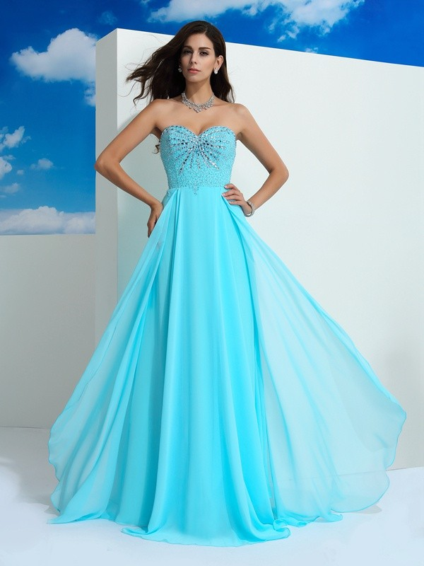 A-Line Sweetheart Sleeveless Floor-Length Chiffon Prom Dress with Beaded