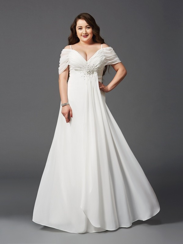A-Line/Princess Off-the-Shoulder Short Sleeves Floor-Length Chiffon Plus Size Prom Dress with Ruched