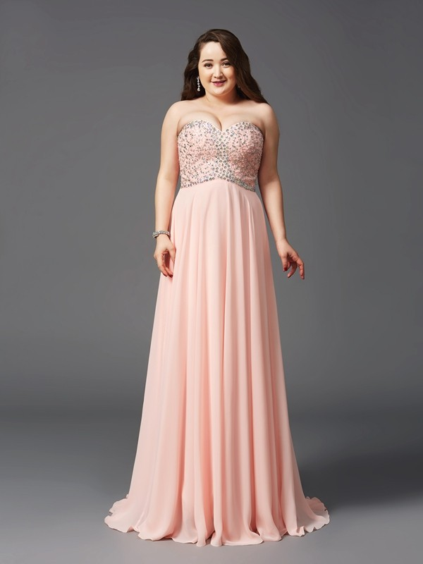 A-Line/Princess Sweetheart Sweep/Brush Train Sleeveless Chiffon Plus Size Prom Dress with Beading