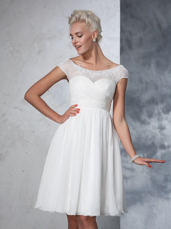 A-Line/Princess Short Sleeves Sheer Neck Chiffon Knee-Length Wedding Dress with Ruched