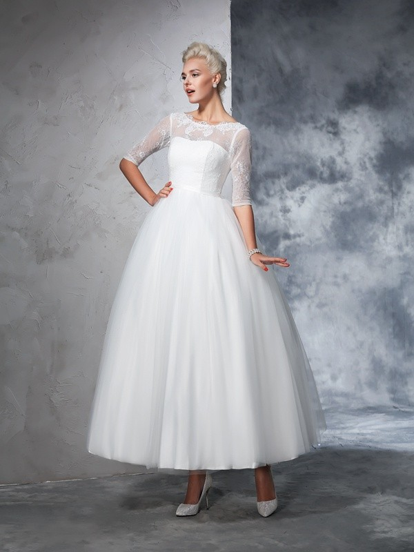 Ball Gown 1/2 Sleeves Bateau Net Ankle-Length Wedding Dress with Lace