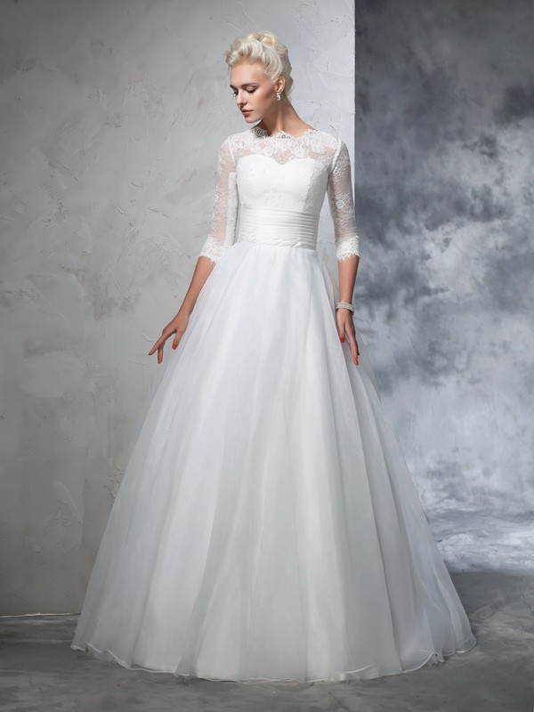 Ball Gown 3/4 Sleeves Jewel Organza Floor-Length Wedding Dress with Applique