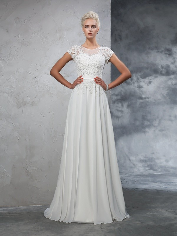 A-Line/Princess Short Sleeves Sheer Neck Chiffon Sweep/Brush Train Wedding Dress with Applique