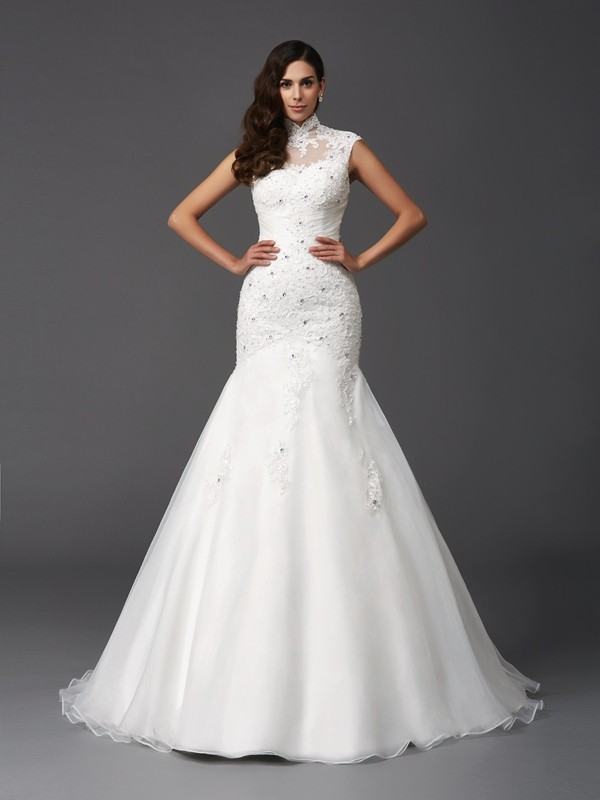 Trumpet/Mermaid High Neck Sleeveless Sweep/Brush Train Organza Wedding Dress with Beading