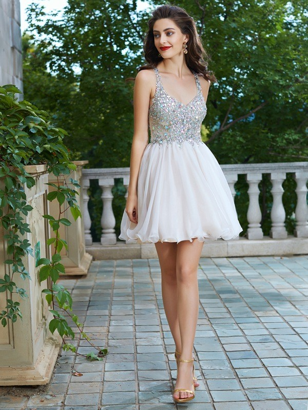 A-Line Straps Short Chiffon Dresses with Rhinestone