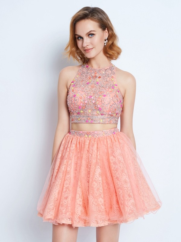 A-Line Jewel Sleeveless Lace Short Two Piece Dresses with Beading