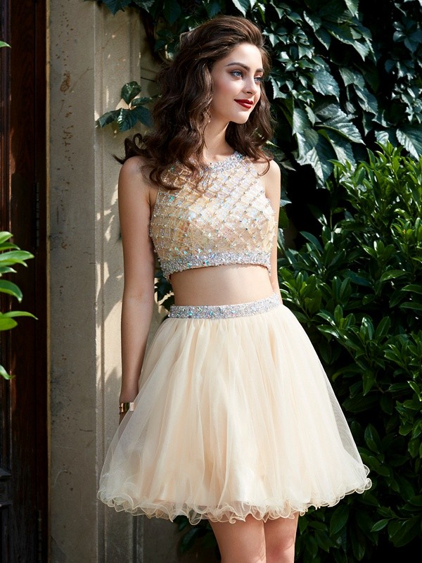 A-Line Scoop Net Sleeveless Short Two Piece Homecoming Dresses with Beading