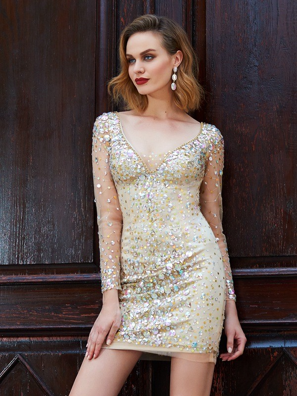 Sheath/Column Scoop Long Sleeves Net Short Dresses with Rhinestone