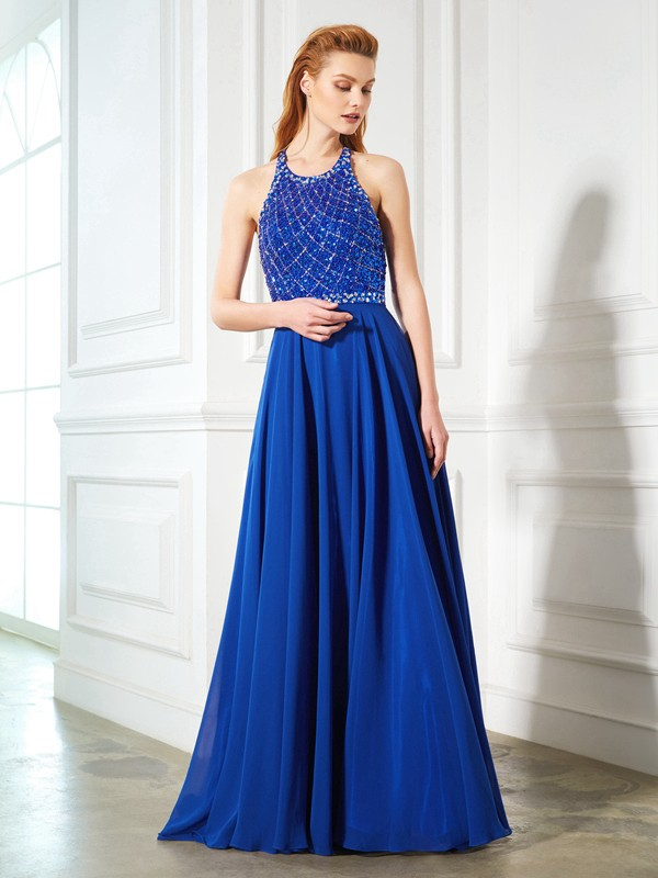 A-Line/Princess Jewel Sleeveless Chiffon Sweep/Brush Train Dress with Beading