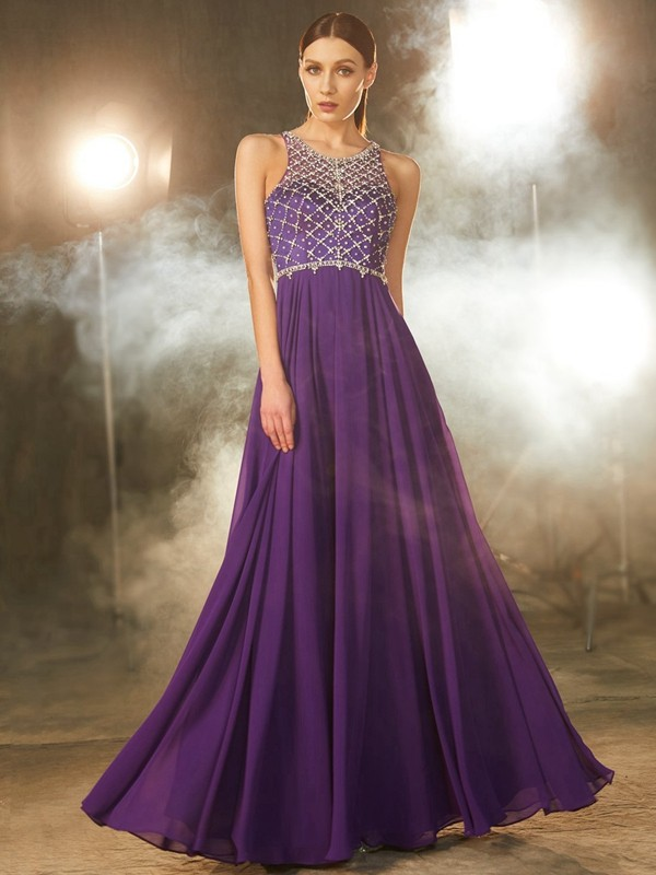 A-Line/Princess Sleeveless Chiffon Scoop Floor-Length Dress with Crystal