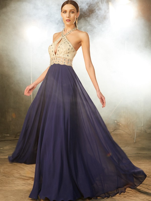 A-Line/Princess Sleeveless Straps Chiffon Floor-Length Dress with Beading