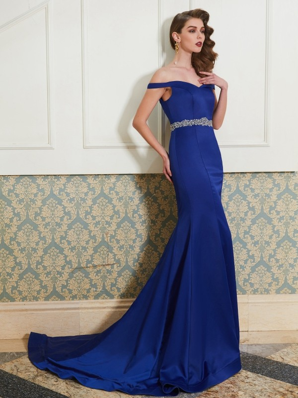 Trumpet/Mermaid Off-the-Shoulder Sleeveless Sweep/Brush Train Satin Dress with Crystal