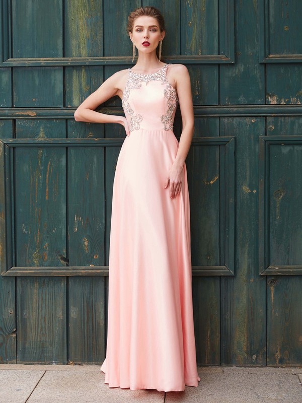 A-Line/Princess Scoop Sleeveless Satin Floor-Length Dress with Beading
