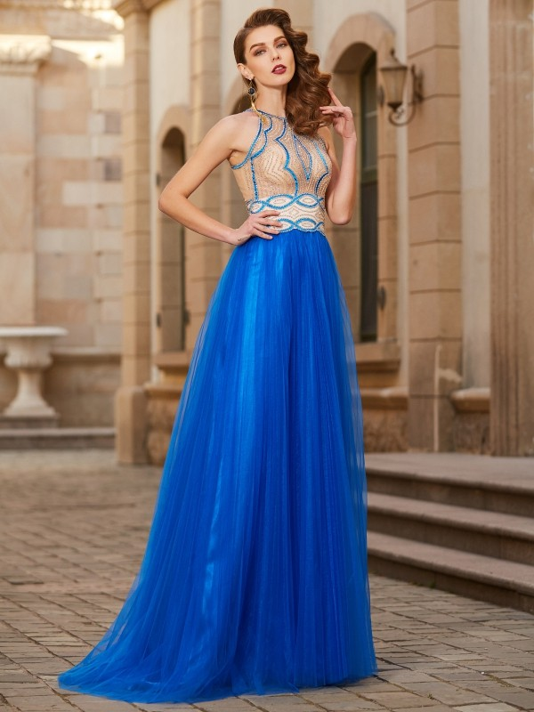 A-Line/Princess Jewel Sleeveless Floor-Length Tulle Dress with Beading