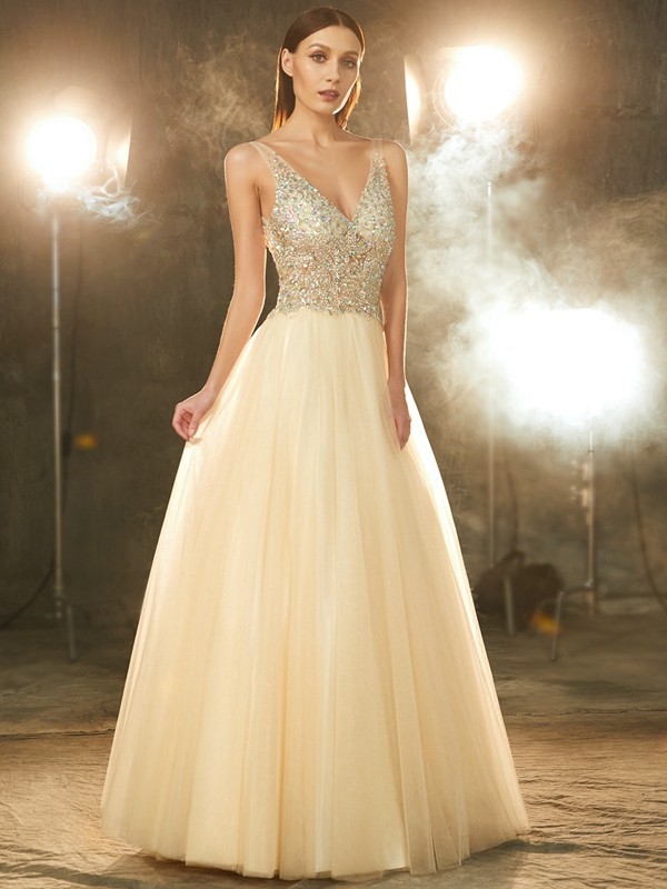 Ball Gown V-neck Sleeveless Floor-length Tulle Dress with Beading