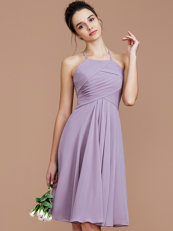 A-Line/Princess Halter Short/Mini Chiffon Bridesmaid Dresses with Ruched