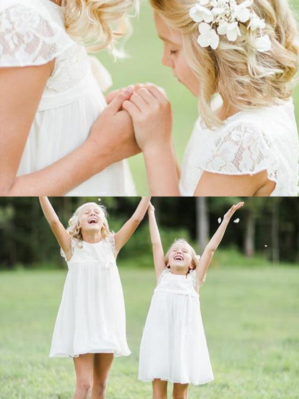 A-Line/Princess Scoop Knee-Length Chiffon Flower Girl Dresses with Lace