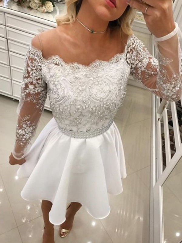 A-Line/Princess Off-the-Shoulder Chiffon Short Dresses with Beading