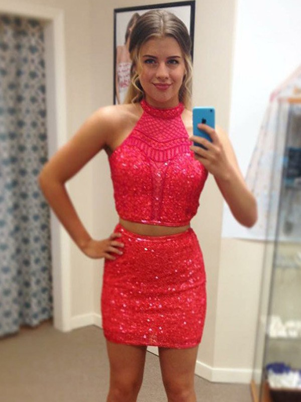 Sheath/Column Halter Sequin Short Two Piece Dresses with Beading