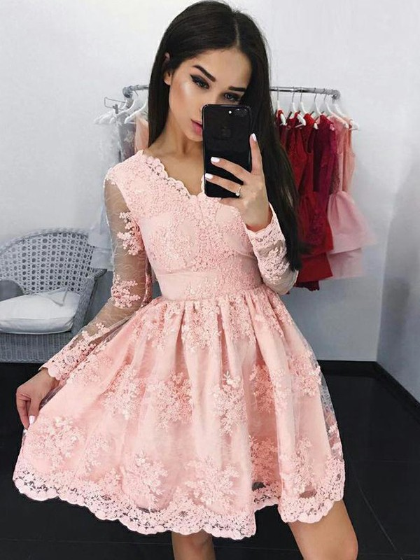 A-Line/Princess Lace Long Sleeves V-neck Short/Mini Dresses with Applique