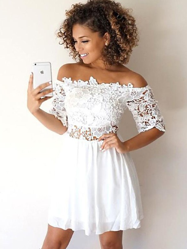 A-Line/Princess Chiffon Off-the-Shoulder 1/2 Sleeves Short/Mini Dresses with Applique
