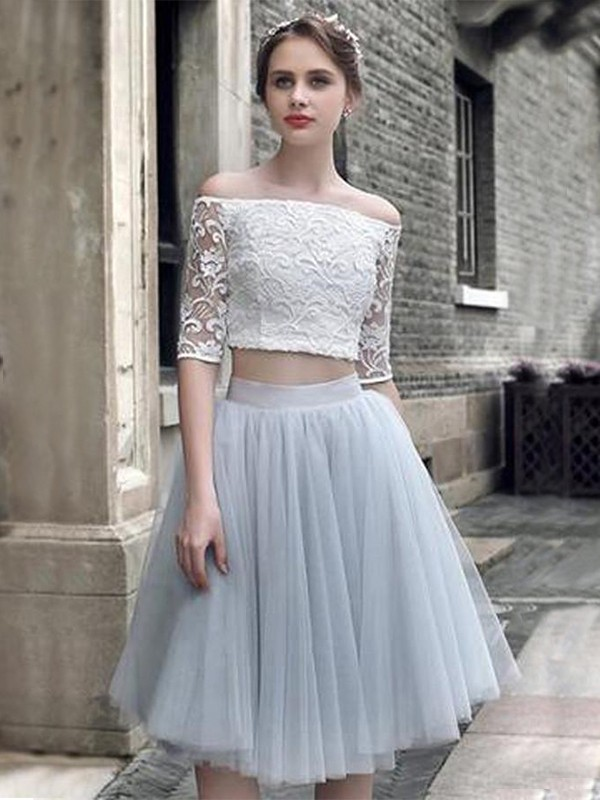 A-Line/Princess Tulle Off-the-Shoulder 1/2 Sleeves Knee-Length Two Piece Dresses with Ruched