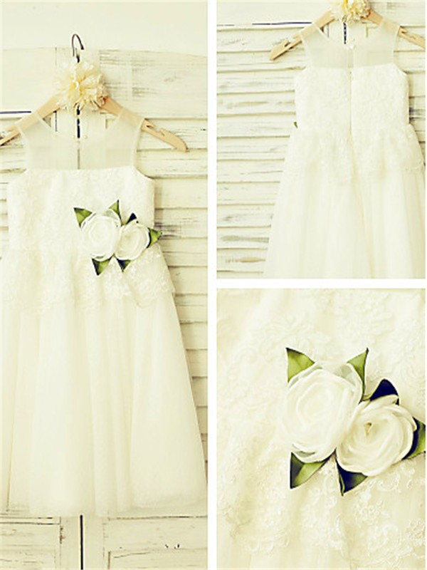 A-line/Princess Straps Sleeveless Tea-length Tulle Flower Girl Dresses with Hand-made Flower