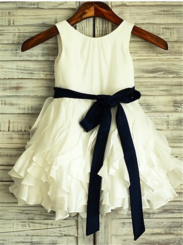 A-line/Princess Scoop Sleeveless Tea-Length Chiffon Flower Girl Dresses with Bowknot