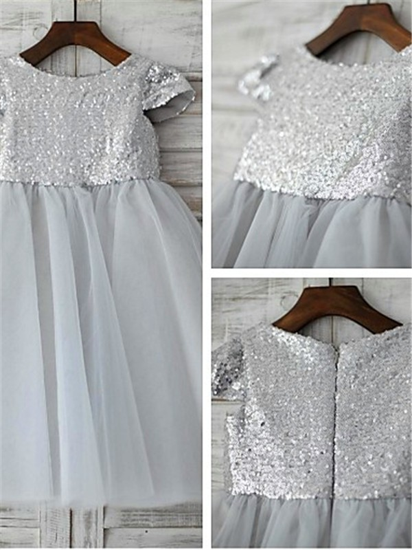 A-line Scoop Short Sleeves Tea-length Tulle Flower Girl Dresses with Sequin