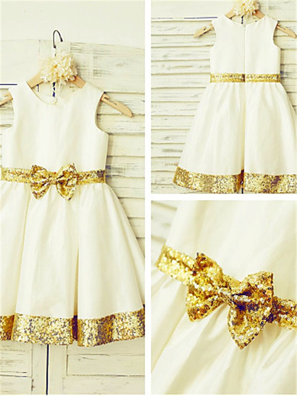 A-line/Princess Scoop Sleeveless Tea-Length Satin Flower Girl Dresses with Sequin