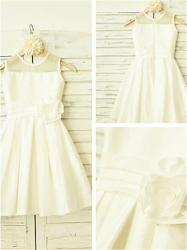 Princess Scoop Sleeveless Tea-Length Chiffon Flower Girl Dresses with Hand-made Flower