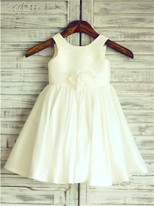 A-line/Princess Scoop Sleeveless Tea-Length Chiffon Flower Girl Dresses with Hand-made Flower