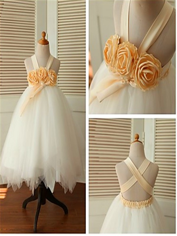 Ball Gown Sleeveless Straps Tea-Length Tulle Flower Girl Dresses with Hand-made Flower