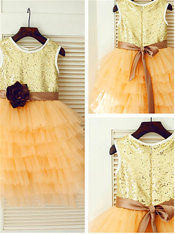 A-line/Princess Scoop Tea-Length Tulle Flower Girl Dresses with Sequin