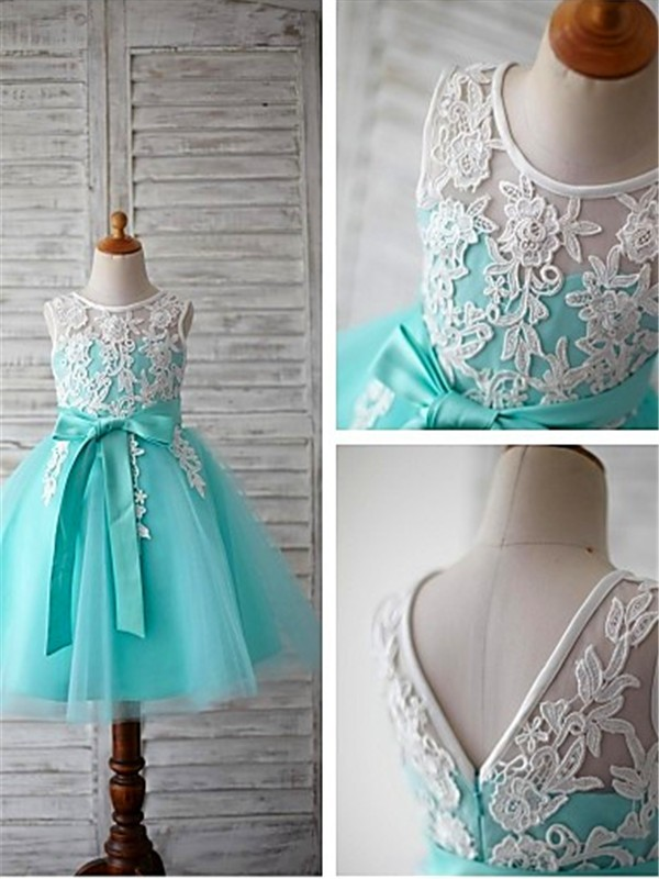 Ball Gown Scoop Sleeveless Knee-Length Tulle Flower Girl Dresses with Bowknot