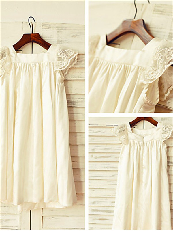 Princess Scoop Short Sleeves Lace Tea-Length Chiffon Flower Girl Dresses