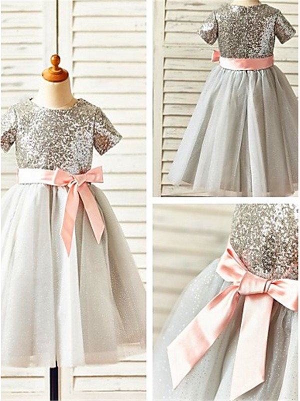 A-line/Princess Scoop Short Sleeves Tea-Length Tulle Flower Girl Dresses with Sequin