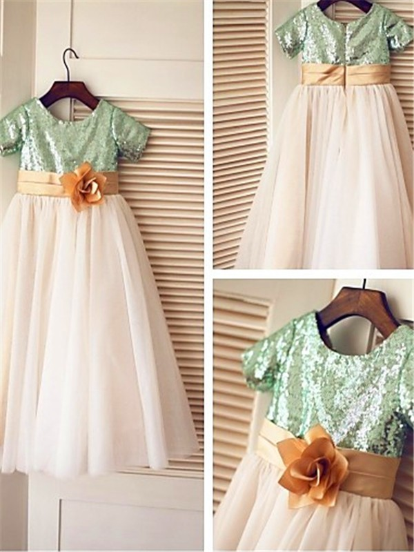 A-line/Princess Short Sleeves Scoop Tea-Length Tulle Flower Girl Dresses with Sequin