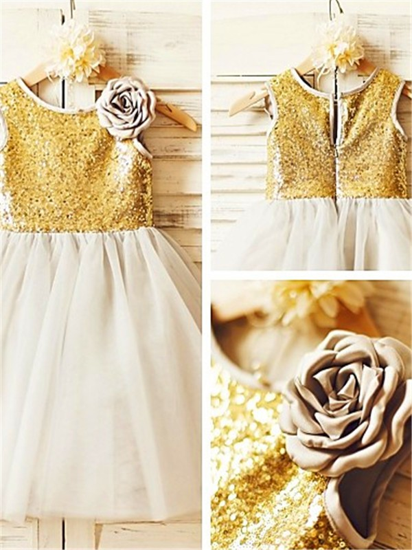 A-line/Princess Scoop Sleeveless Tea-Length Tulle Flower Girl Dresses with Sequin