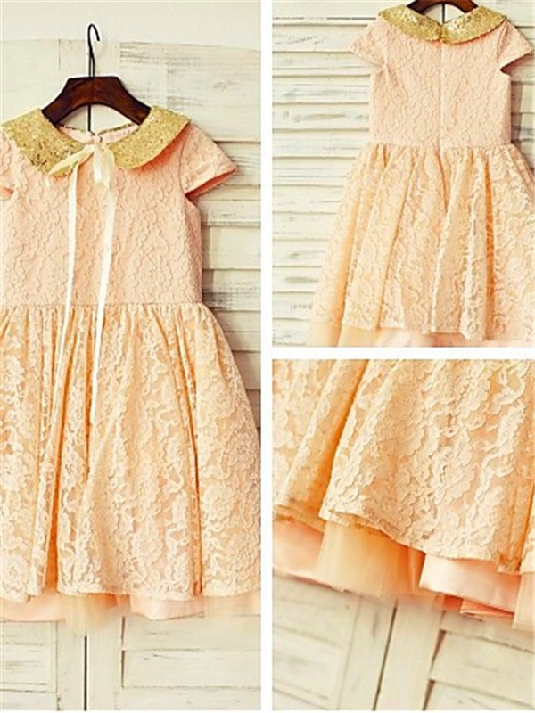 A-line/Princess Short Sleeves Scoop Tea-Length Lace Flower Girl Dresses with Sequin