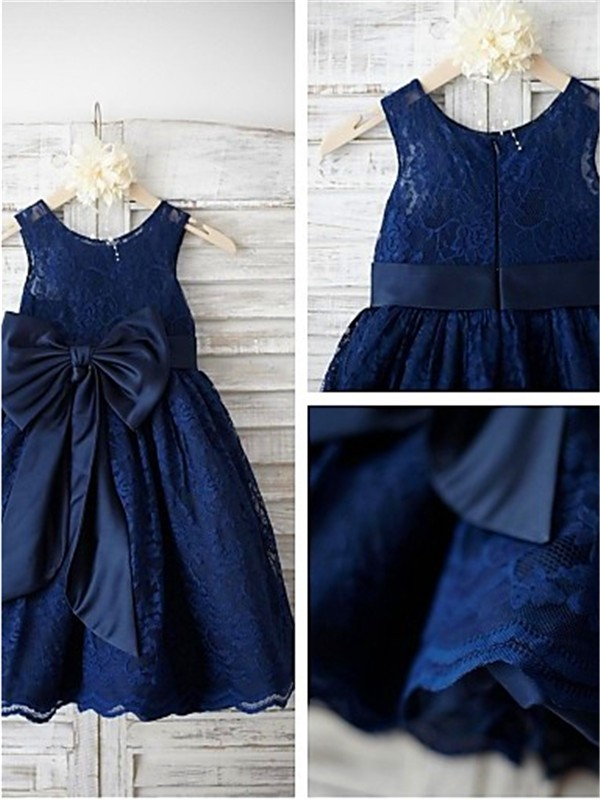 A-line Scoop Tea-length Lace Flower Girl Dress with Bowknot