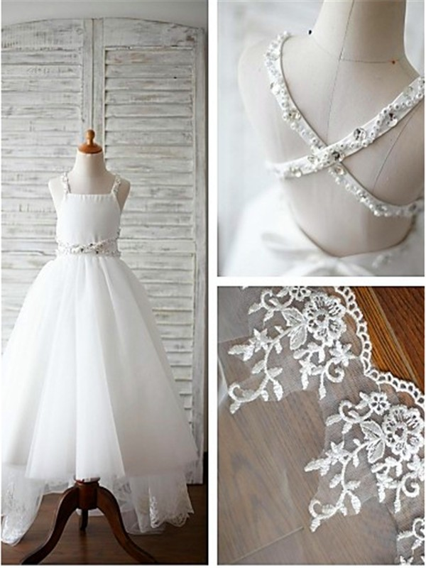 A-line/Princess Spaghetti Straps Sleeveless Sweep/Brush Train Tulle Flower Girl Dresses with Beading