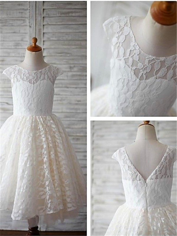 A-line Scoop Short Sleeves Tea-length Lace Flower Girl Dresses