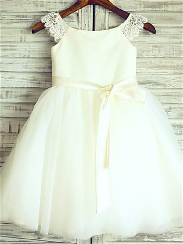 A-line/Princess Sleeveless Scoop Knee-Length Tulle Flower Girl Dresses with Sash/Ribbon/Belt