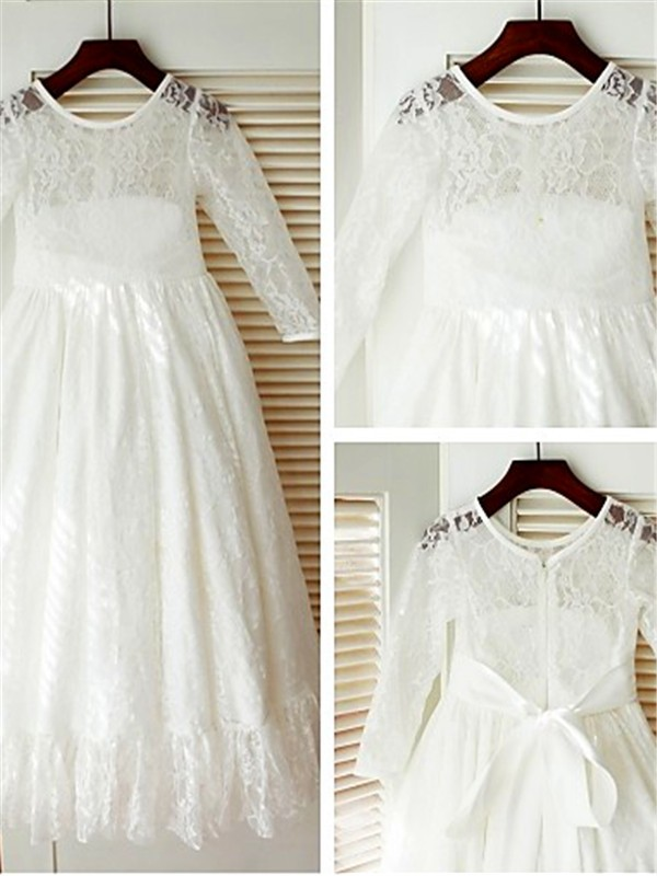 A-line/Princess Scoop Long Sleeves Ankle-length Lace Flower Girl Dresses with Bowknot