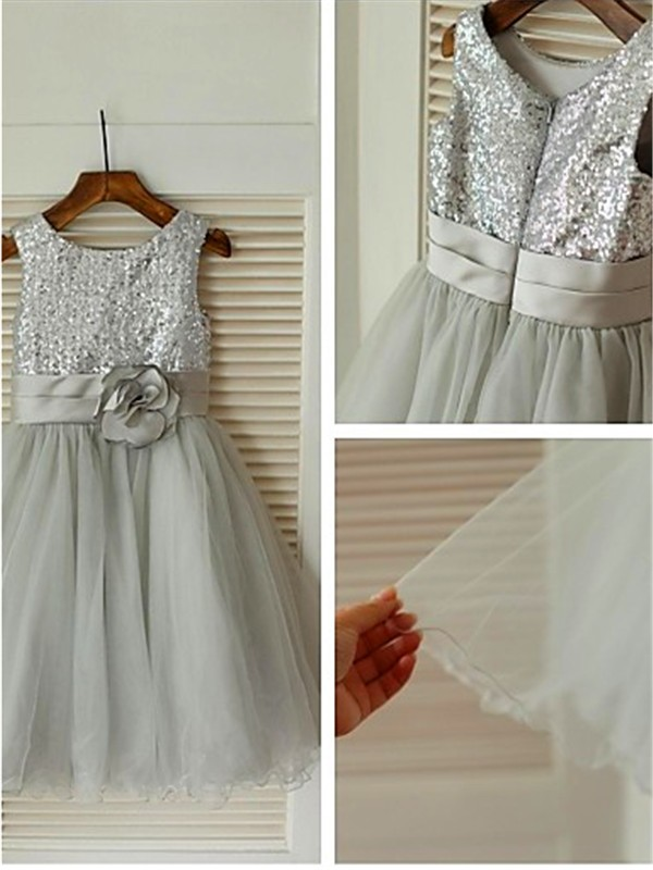 A-line Scoop Sleeveless Tea-Length Tulle Flower Girl Dresses with Sequin